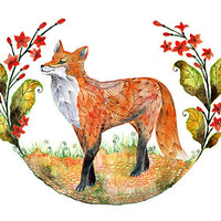 Fox animal art print Foxy Garden by OlaLiola size by TevaGallery