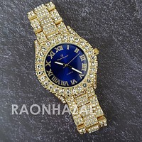 Raonhazae Hip Hop Iced Lab Diamond 14K De La Soul Gold Plated Black Face Watch with Stones
