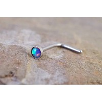 Purple Opal Nose Ring Nose Stud L Bend