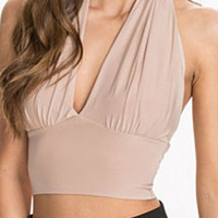 Apricot Halter Backless Ruched Crop Top