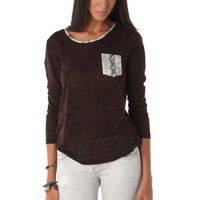 Fleck t-shirt with contrast leather faux snakeskin