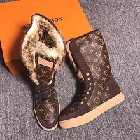 LOUIS VUITTON Rabbit hair fashionable leisure boots-18