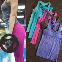 Fashion Casual Solid Color Sleeveless Running Sports Vest Yoga Clothes