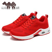 LUONTNOR Air Cushion Women Sport Running Shoes Breathable Red Mesh Sneakers Woman Athletic Sports Shoes 2018 Spring Footwear
