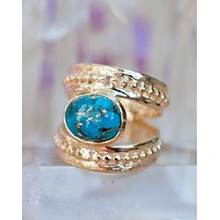 Pandora Ring * Copper Turquoise * Gold Plated 18k * BJR223