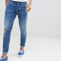 Only & Sons Skinny Jeans In Washed Denim With Knee Rip at asos.com