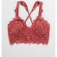 Aerie Lace Padded Bralette, Mauvewood
