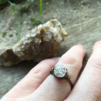 Quartz ring, clear crystal ring, wire ring, gemstone ring, handmade ring, Quartz jewelry, healing stone ring, stone ring, healing crystals