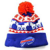 New Era Unisex Buffalo Bills Mooser Cuff Pom Knit Blue Beanie Hat