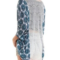 Lace-Back Paisley Cocoon Cardigan - Bright Blue Combo