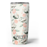 The Coral Flower and Hummingbird on Branches - Skin Decal Vinyl Wrap Kit compatible with the Yeti Rambler Cooler Tumbler Cups