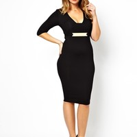 ASOS CURVE Exclusive Bodycon Midi Dress With Gold Belt at asos.com