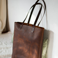 """Brown Distressed Leather bag. """"Illa Roja"""" leather Tote. Premium sturdy waxed leather. Handmade"""