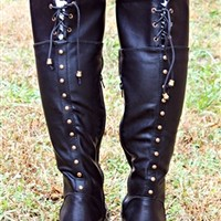 In Stitches Riding Boots - Black