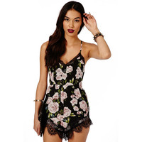 Women Jumpsuit Summer Rompers Sexy Club Floral Lace Elegant Chiffon Bodycon Jumpsuit Playsuit Romper mujeres mono V-Neck
