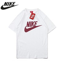 NIKE New fashion letter hook print couple top t-shirt