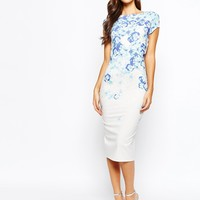 True Violet Pencil Dress With Ombre Floral And Low Cowl Back
