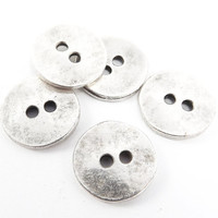 5 Chunky Cast Round Button Spacer Beads - Matte Antique Silver Plated