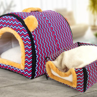 Dog Cat Pet House Kennel Warm Bed  with Fleece Mattress Portable Easy Wash
