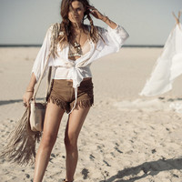 Cowgirl Dreams Tassel Shorts - Taupe   Spell & the Gypsy Collective