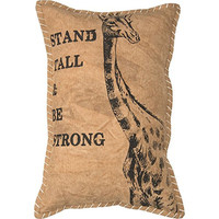 Stand Tall & Be Strong - Vintage Canvas Pillow with Giraffe Print - 15-in