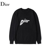 DIOR New Fashion Letter Print Women Men Leisure Long Sleeve Top Sweater Black