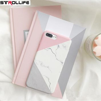STROLLIFE Geometric Splice Marble Phone Case For iPhone 8Plus case Frosted Hard PC Full Protect Cover Capa For iPhone8Plus Coque