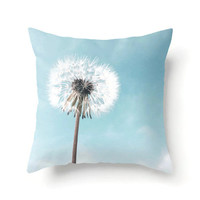 Throw Pillow Cover, dandelion pillow cover, accent pillow, pale blue decor, light blue, nursery decor, dandelion art, floral pillow