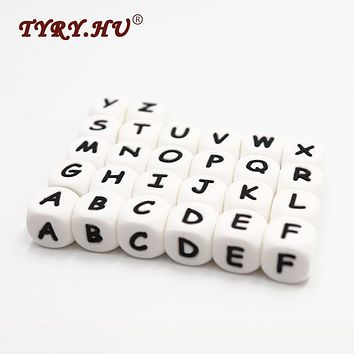 100pc Alphabet / Russian Letter Beads Food Grade 12MM Silicone Chewing Beads For Teething Necklace Pacifier Chain Baby Teether