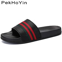 Brand Slippers Shoes Leather Summer Soft Footwear Fashion Male Water Shoes Slides Outdoor Rubber Flat Men Sandals Beach Shoe