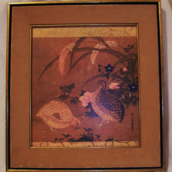 Oriental ART Quails and Flowers Framed Tosa Mitsuoki