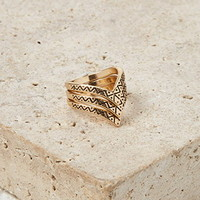 Etched Pointed Ring Set