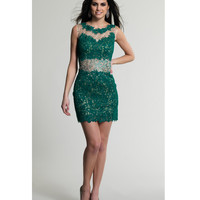 Dave & Johnny 144 Green Lace Short Illusion Two Piece Dress 2015 Prom Dresses