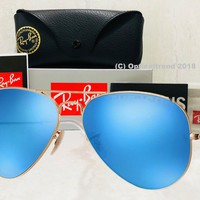 Ray-Ban Large Aviator Blue Flash Mirror Matte Gold Frame RB3025 112/17 62mm