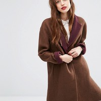 ASOS Coat with Contrast Collar at asos.com
