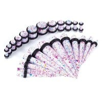 Gauges Kit Tie Dye Acrylic Tapers & Plugs 8G-00G 24 Pieces