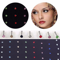 For Your Choice Women Trendy Crystal Rhinestone Bulk Bone Straight Stud Bar Piercing Nose Ring 40pcs/pack 2 Colors