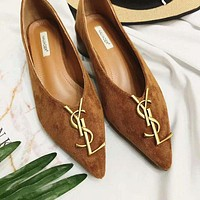 Yves Saint Laurent YSL Trending Women Stylish Casual Leather Pointed Toe Flat Shoes Single Shoe Brown I12320-1