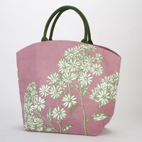 Two's Company Blooming Meadow Burlap Jute Tote Bag Town City Beach Market (Chamomile)