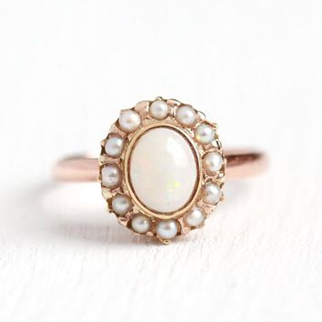 Victorian Opal Ring - Antique 18k Rose & Yellow Gold Seed Pearl Halo - Size 5 Circa 1890s Genuine Oval .49 CT Gemstone Fine 750 Jewelry