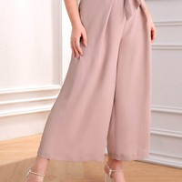 Plus Wide Leg Solid Belted Pants