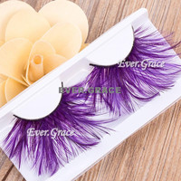 Makeup Purple Faux Feather Eye Lashes Soft Eyelash Party Halloween Long Cosmetic