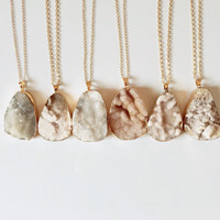 FREE UK SHIPPING - White Beige Large Crystal Druzy - Raw Rock - Rough Pendant - Necklace - Crystal - Agate