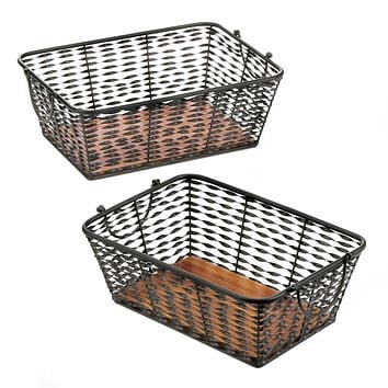 Set of 2 Iron Baskets with Wood Base