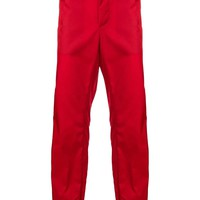 Logo Cuff Strap Red Pants by Prada