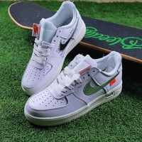 Best Online Sale OFF WHITE x Nike Air Force 1 Low White Silver Sport Shoes Sneaker Design By Virgil Abloh