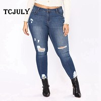 TCJULY America Fashion Distressed Mom Jeans Skinny Push Up Women's Jeans Large Sizes 6XL 7XL Cotton Stretched Casual Denim Pants