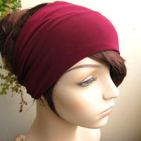 Rich Burgundy Turban Head Wrap, Women's Yoga Headband, Turband, Wide Head / Hair Band, Stretch Fabric, Fashion Hair Accessories