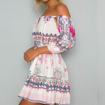 White Floral Print Sashes Off-shoulder 3/4 Sleeve Lantern Sleeve Cotton Mini Dress