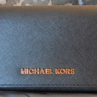 MICHAEL KORS~Jet Set Travel CARRYALL Leather Clutch Wallet~BLACK~NWT $178